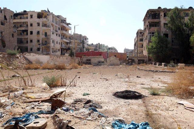 Vista de una de las zonas controladas por los rebeldes en Alepo