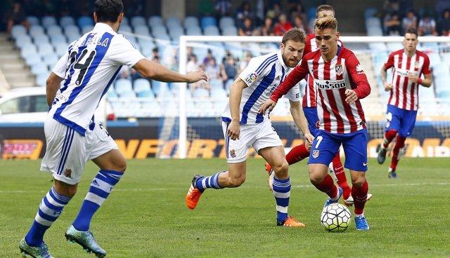 Griezmann e Illarramendi en el Real Sociedad - Atlético Madrid