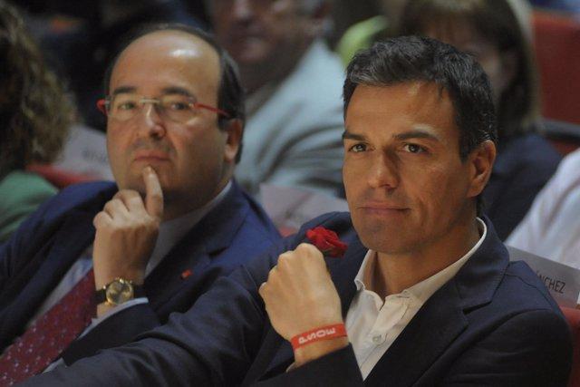 Miquel Iceta y Pedro Sánchez en un mitin