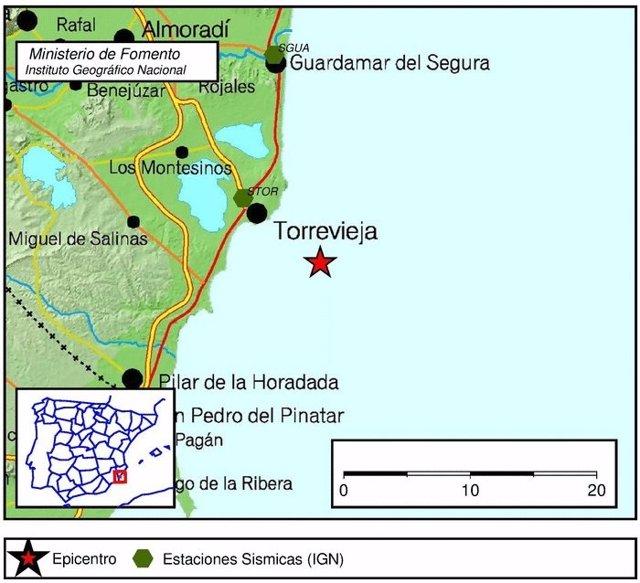 Localización del seismo a 6 kilómetros de Torrevieja