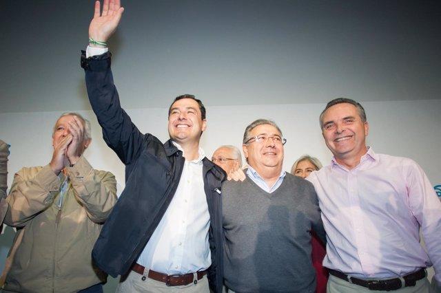 Juanma Moreno, Juan Ignacio Zoido y Juan Bueno en un acto del PP
