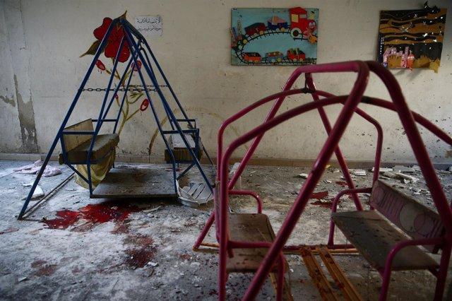 Una guardería de Harasta (Siria) sufre un ataque