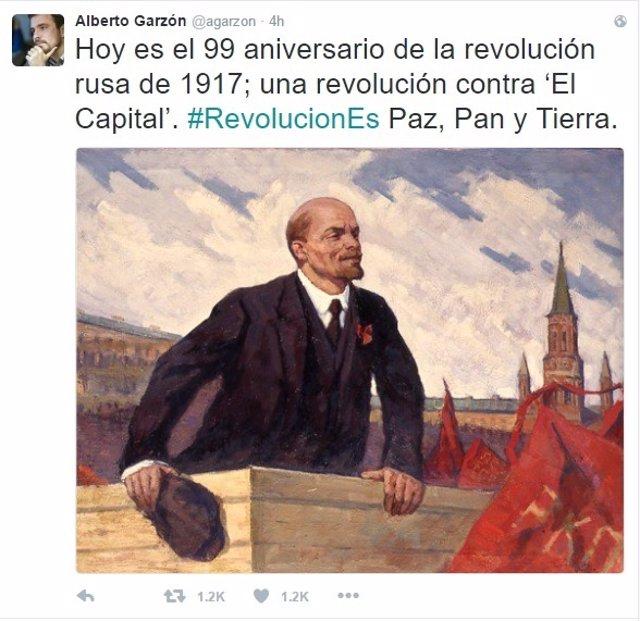 Tuit de Alberto Garzón de la revolución rusa y Lenin