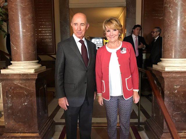 Alfonso Maristany Cucurella (Círculo Ecuestre) y Esperanza Aguirre, PP