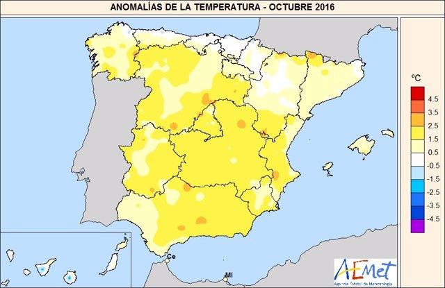 Temperaturas octubre 2016 en España