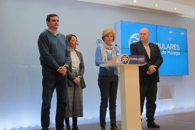 Felix Romero, Patricia Navarro, Esperanza Oña y Antonio Garrido en la sede PP