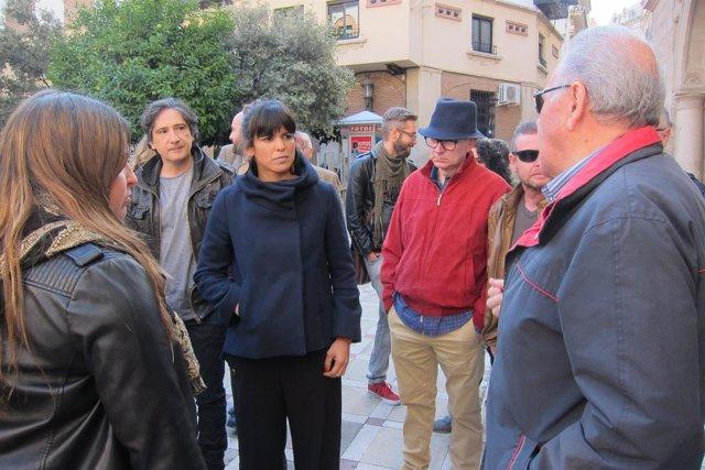 Teresa Rodríguez, en su visita a Jaén.