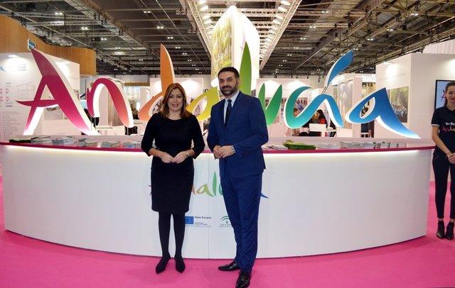Susana Díaz y Francisco Javier Fernández en la feria World Travel Market