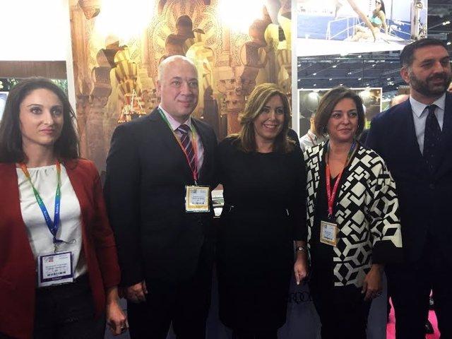 Díaz, entre Ruiz y Ambrosio, en la 'World Travel Market'