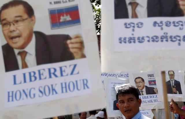 Manifestación a favor del senador camboyano Hong Sok Hour