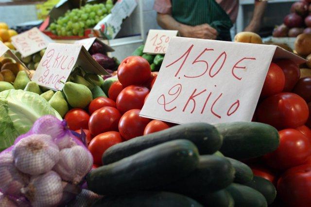 Mercado de frutas y verduras en Andalucía
