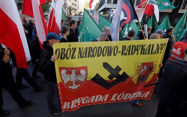 Manifestación de la ultraderecha polaca