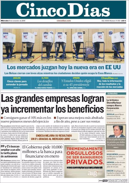 Las portadas de los periódicos económicos de hoy, miércoles 9 de noviembre