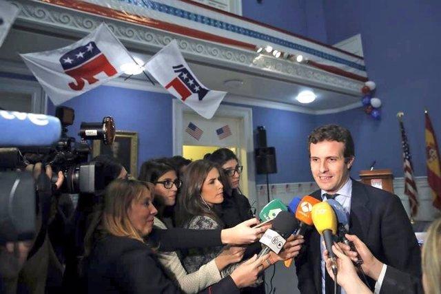 Pablo Casado analiza la victoria de Trump en Génova