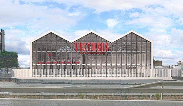 Fachada de la futura fábrica de cervezas victoria en málaga