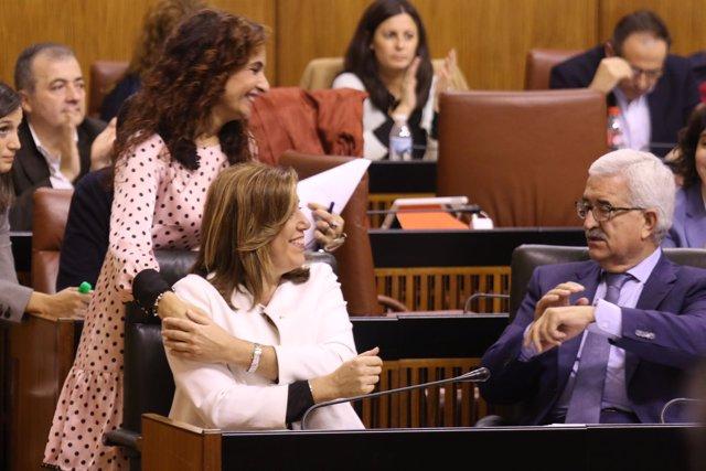 Montero, Díaz y Jiménez Barrios en el debate parlamentario de presupuestos