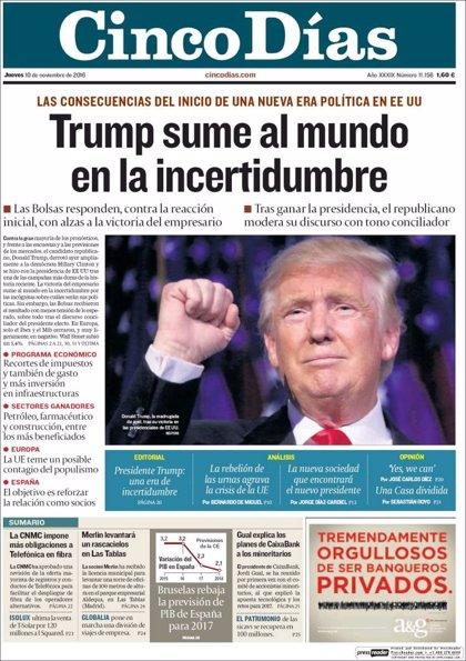 Las portadas de los periódicos económicos de hoy, jueves 10 de noviembre