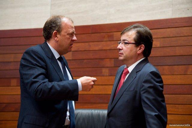Vara y Monago en una imagen de archivo en un Pleno