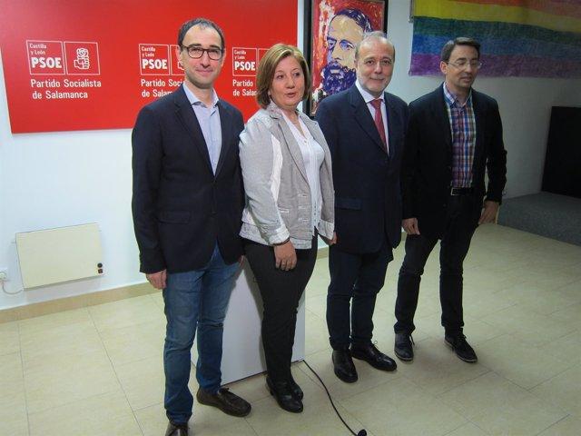 Los Socialistas David Serrada, Rosa López, José Andrés Torres Mora Y  Pablos.