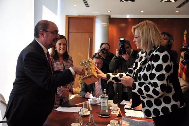Lambán y la comisaria europea de  Política Regional, Corina Creu