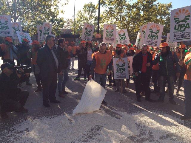 Protesta de agricultores y ganaderos en Granada