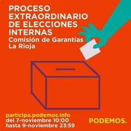 Cartel Podemos La Rioja para participar en votación Comisión Garantías