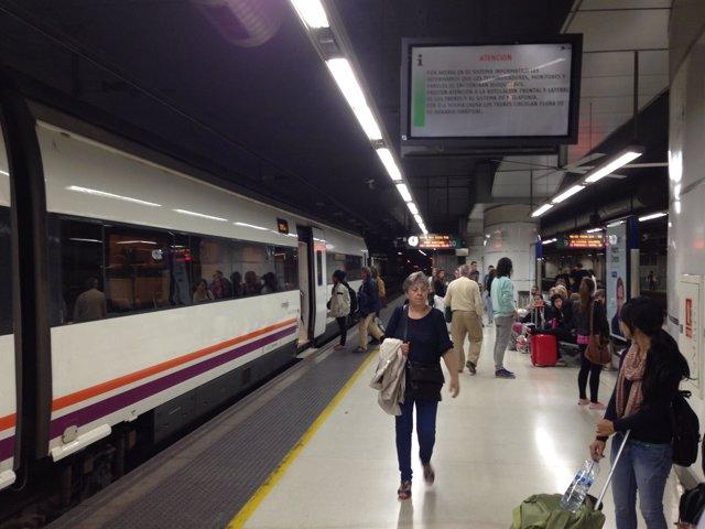 Estación de Sants. Trenes. Andenes