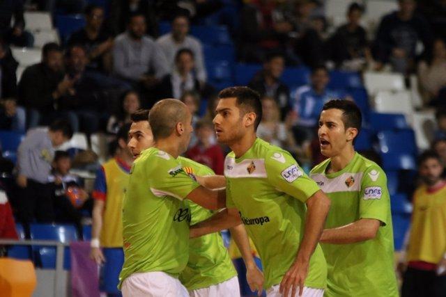Palma Futsal celebra el triunfo ante Inter