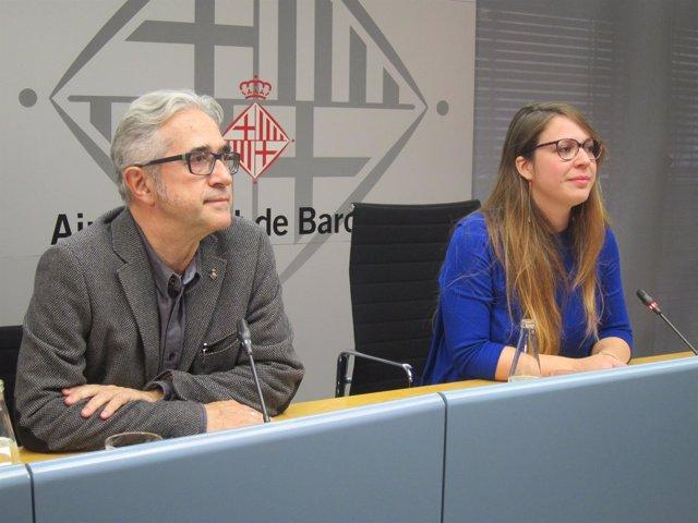 Teniente de alcalde de Barcelona Janet Sanz y el concejal Josep Maria Montaner