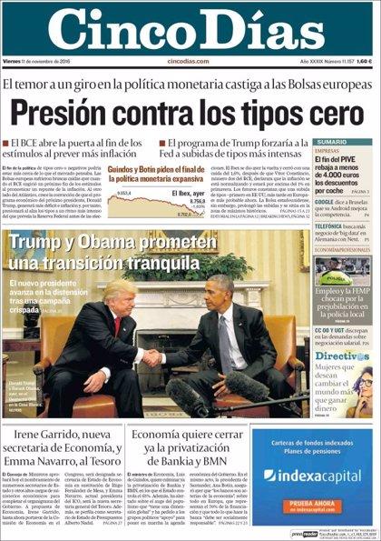 Las portadas de los periódicos económicos de hoy, viernes 11 de noviembre