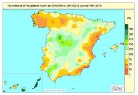 España acumula un 14% menos de lluvias delo normal desde el 1 de octubre al 8 de noviembre