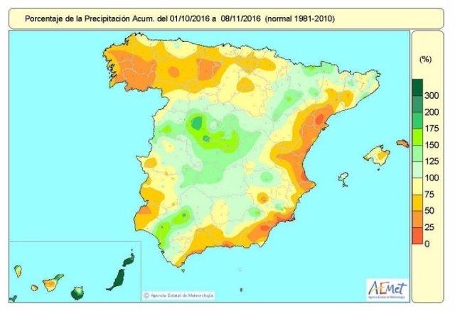 Mapa de distribución de precipitaciones en España del 1-10 al 8-11 de 2016