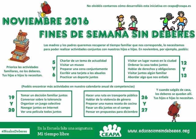 Cartel FAPA Cantabria sobre los deberes