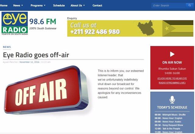 Anuncio del cierre de Eye Radio en su página web.