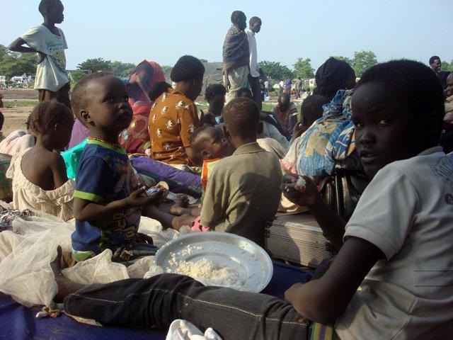 Desplazados por la escalada de violencia en la capital de Sudán del Sur, Yuba