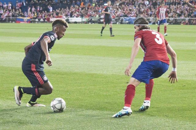 Coman y Filipe Luis, Champions League, Atlético de Madrid-Bayern de Múnich