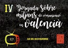 Cartel de la jornada sobre el valenciano en medios