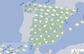 Las lluvias localmente fuertes afectarán mañana norte peninsular y las temperaturas serán normales para la época