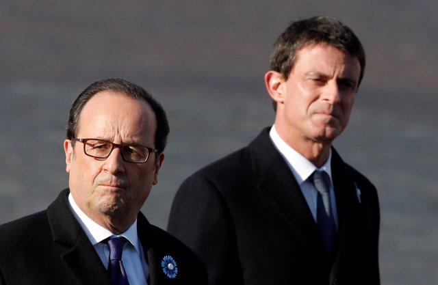 Manuel Valls, primer ministro y François Hollande, presidente