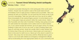 Defensa Civil de Nueva Zelanda emite alerta por posible tsunami tras el terremoto de Christchurch