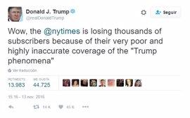 Trump ataca al 'New York Times' por distorsionar su imagen durante la cobertura de las elecciones