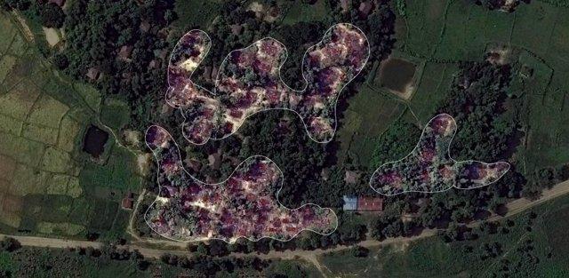 Destrucción de viviendas rohingya en Birmania