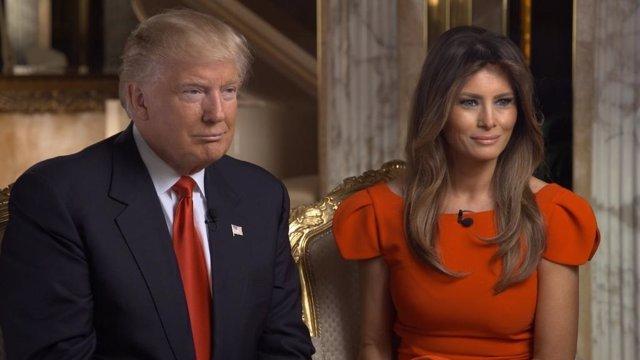 Trump y su esposa Melania en la entrevista con 60 Minutes