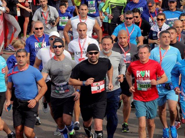El primer ministro designado de Líbano, Saad Hariri, en una maratón en Beirut