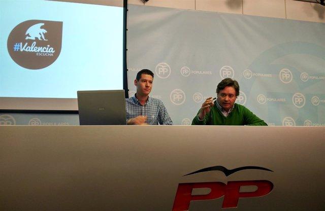 Luis Santamaría y Quique Martínez presentando la campaña 'Valencia Escucha'