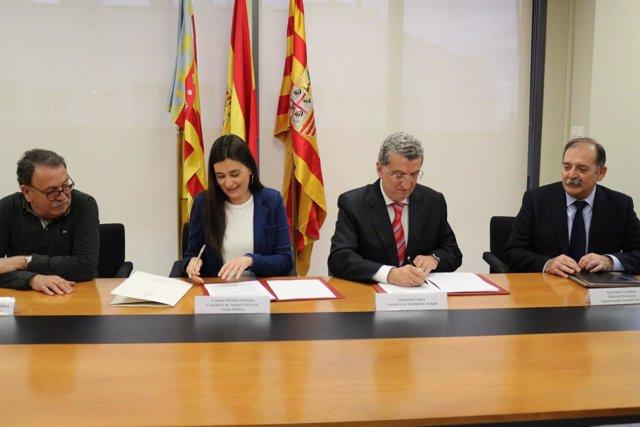 Firma del convenio de atención sanitaria en zonas limítrofes entre GVA y Aragón