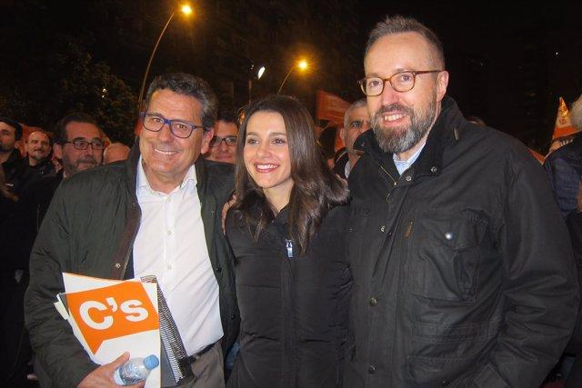 M.García, I.Arrimadas y J.C.Girauta (C's) en una imagen de archivo.