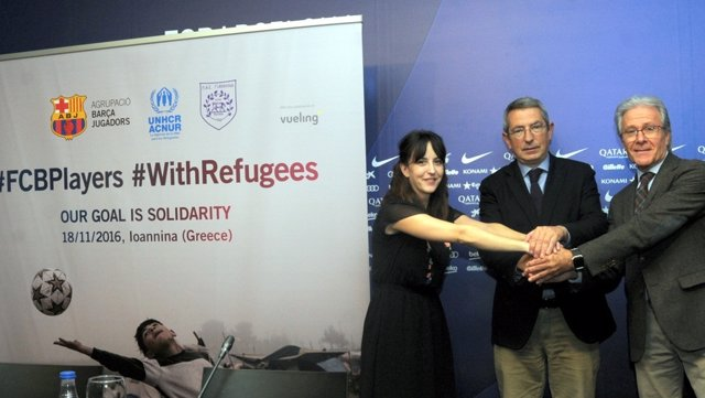Presentación jornada solidaria con los refugiados de los veteranos del Barça