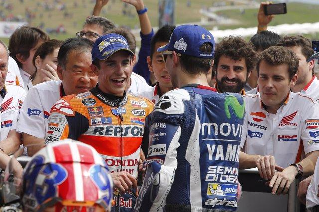 Jorge Lorenzo felicita a Marc Marquez por su victoria