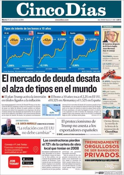 Las portadas de los periódicos económicos de hoy, martes 15 de noviembre